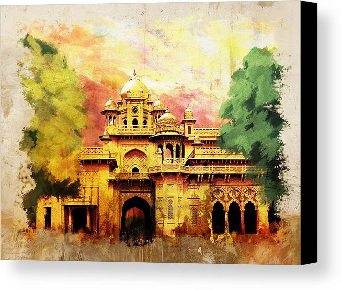 Pakistan Canvas Print featuring the painting Aitchison College by Catf