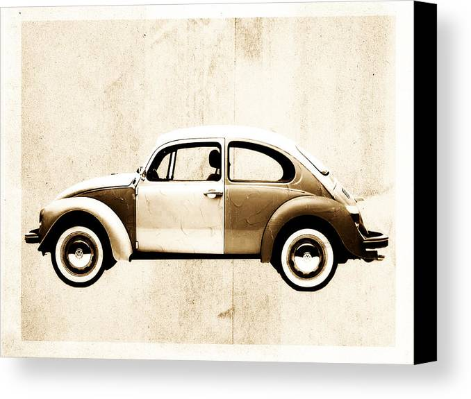 Beetle Canvas Print featuring the digital art Beetle Car by David Ridley
