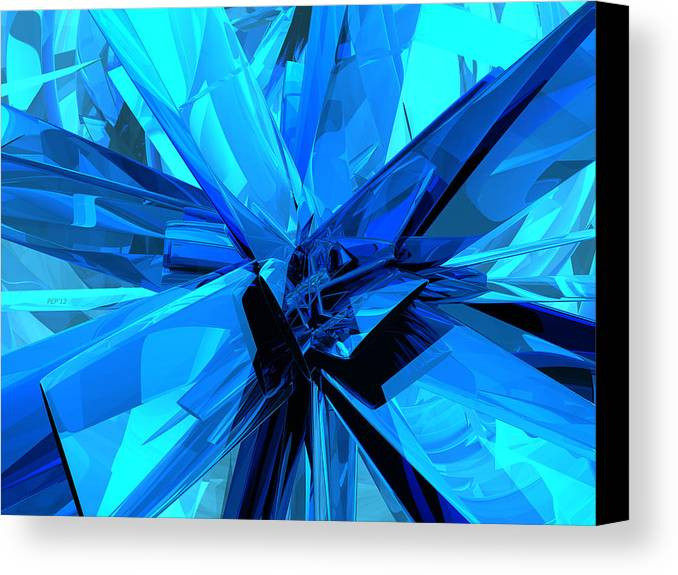 Blue Canvas Print featuring the digital art Blue Abstract by Phil Perkins