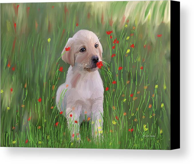 Computer Generated Canvas Print featuring the painting Computer Generated Portrait Of A Dog by Angela A Stanton