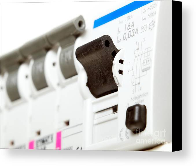 Electrical Canvas Print featuring the photograph Electric Fuses by Sinisa Botas