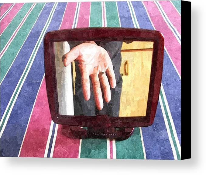 Mirror Canvas Print featuring the painting Hand In The Mirror by Philemon Maloka