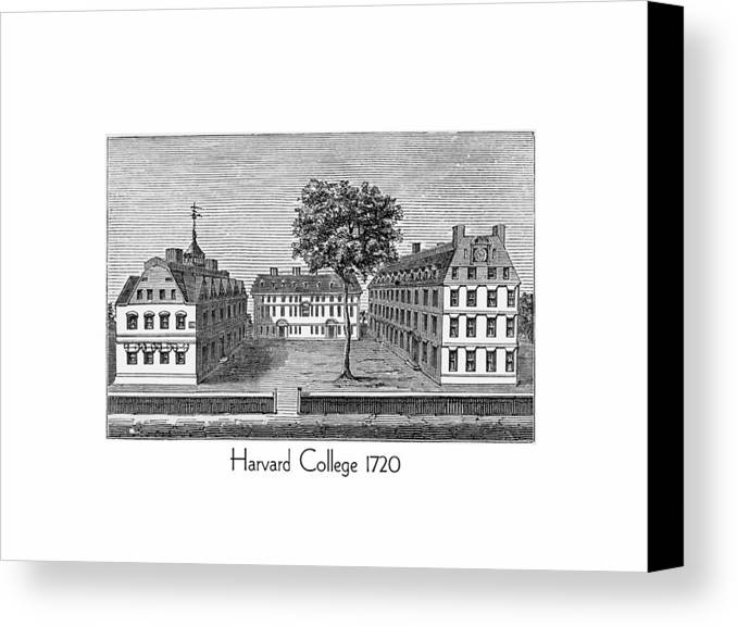 Harvard Canvas Print featuring the digital art Harvard College - 1720 by John Madison