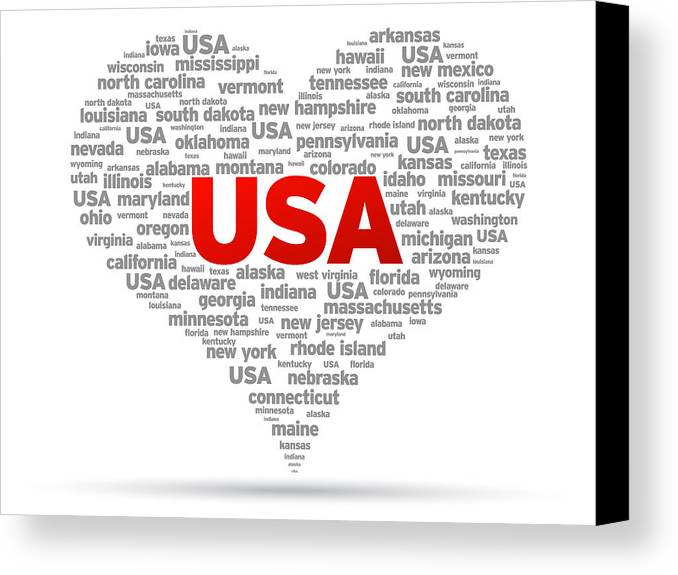 Usa Canvas Print featuring the drawing I Love Usa by Aged Pixel
