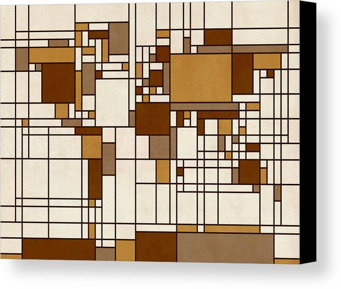 Cartography Canvas Print featuring the digital art World Map Abstract Mondrian Style by Michael Tompsett