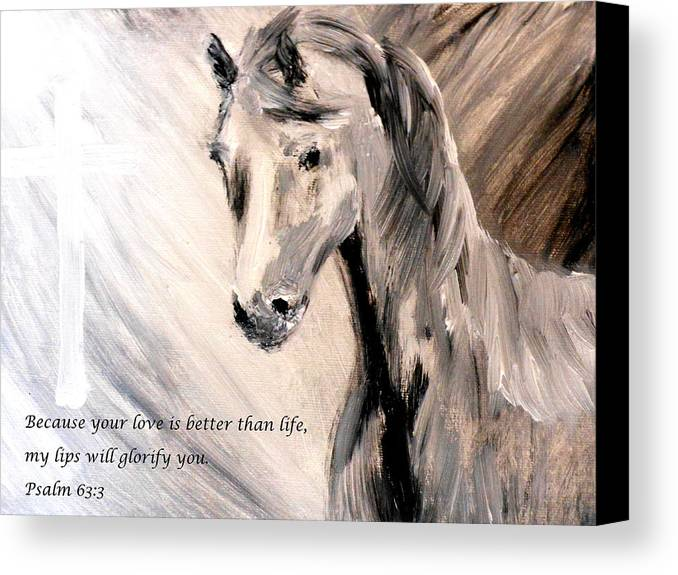 Because Your Love Is Better Than Life My Lips Will Glorify You Canvas Print featuring the painting God Is Love by Amanda Dinan