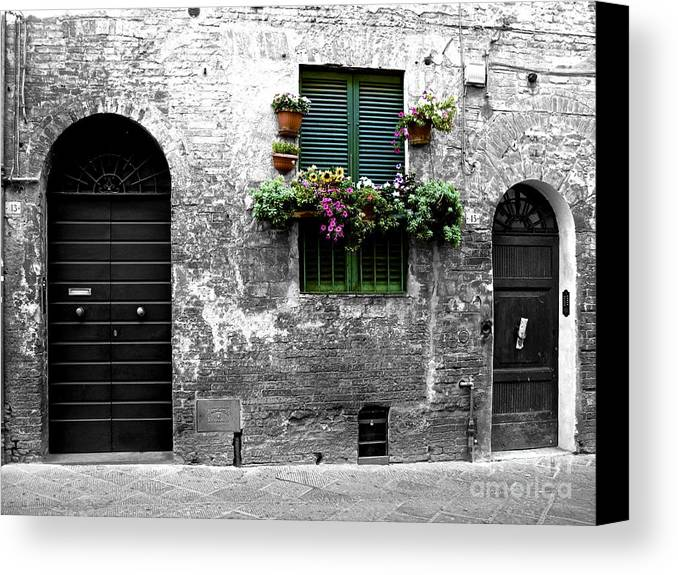Italian Alleyways Canvas Print featuring the photograph Flower Shoppe by Don Kenworthy