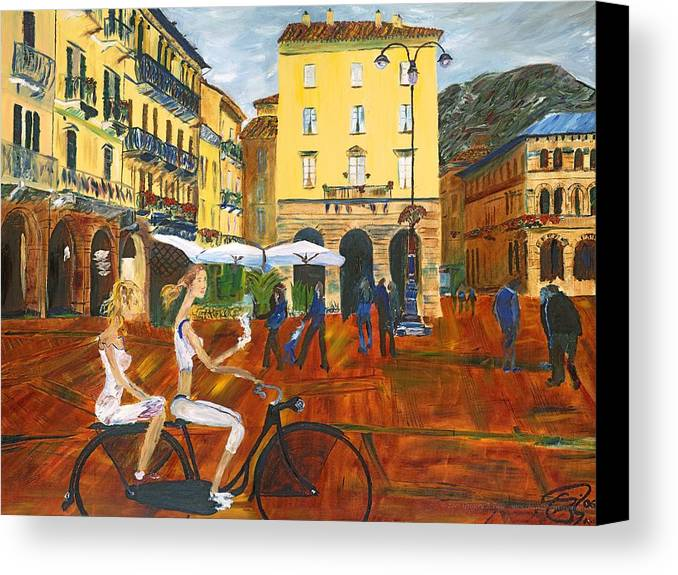Italy Canvas Print featuring the painting Piazza De Como by Gregory Allen Page