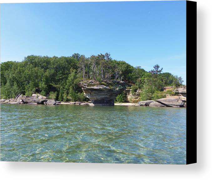 Port Austin Canvas Print featuring the photograph Turnip Rock by Two Bridges North