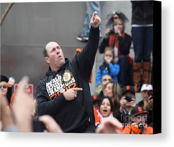 Sport Canvas Print featuring the photograph 2012 San Francisco Giants World Series Champions Parade - Will The Thrill Clark - Dpp0006 by Wingsdomain Art and Photography