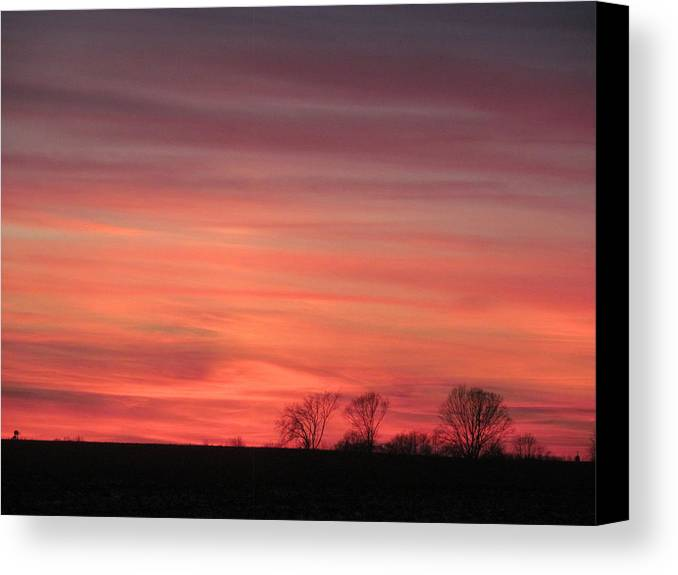 Sun Canvas Print featuring the photograph 22 Dec 2012 Sunset Three by Tina M Wenger