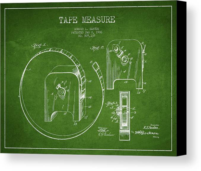Tape Measure Canvas Print featuring the digital art Tape Measure Patent Drawing From 1906 by Aged Pixel