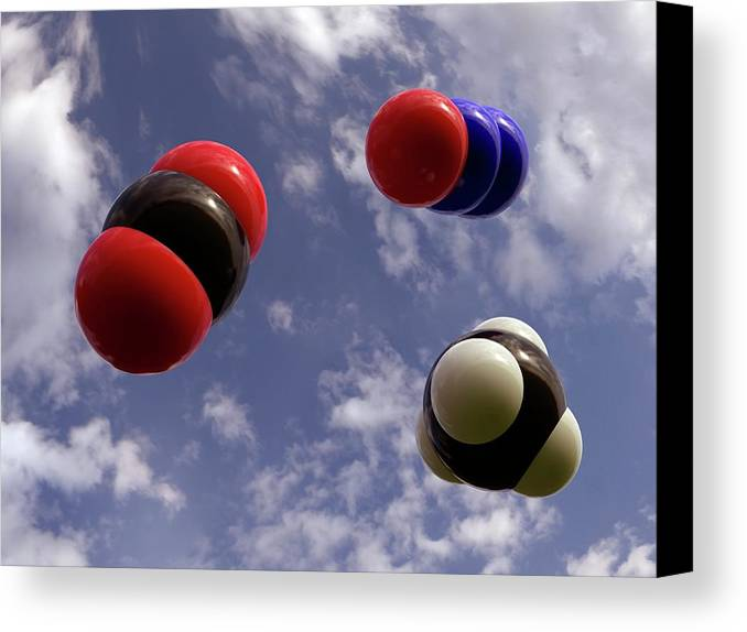 Artwork Canvas Print featuring the photograph Greenhouse Gas Molecules by Indigo Molecular Images