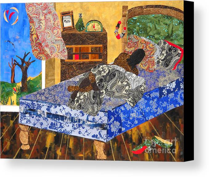 Collage Canvas Print featuring the mixed media 5 Am by Paula Drysdale Frazell