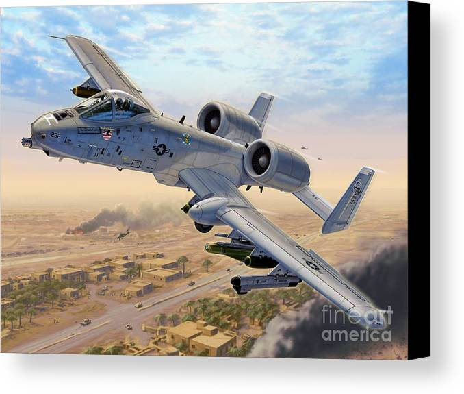 A-10 Canvas Print featuring the digital art A-10 Over Baghdad by Stu Shepherd