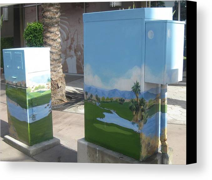 Golf Canvas Print featuring the painting A Birdie On The 18th Front Public Art by Maria Hunt