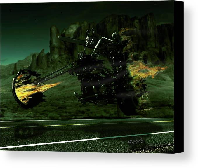 Death Canvas Print featuring the digital art A Ghost Rider by Jeremy Martinson