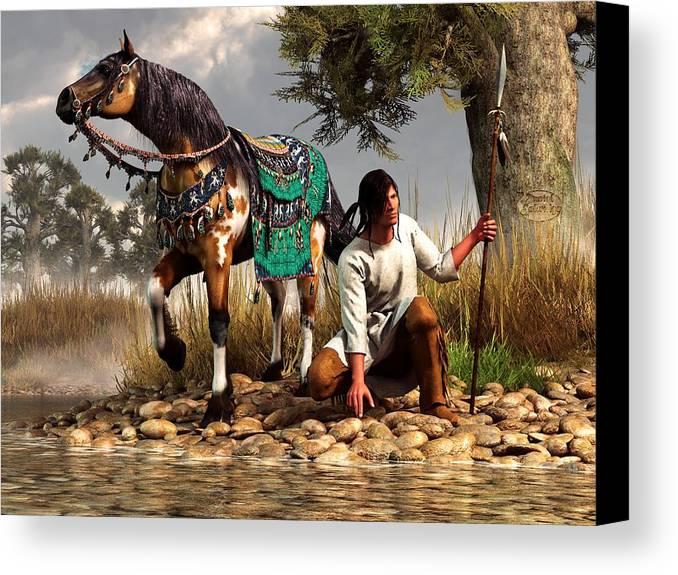 Canvas Print featuring the digital art A Hunter And His Horse by Daniel Eskridge
