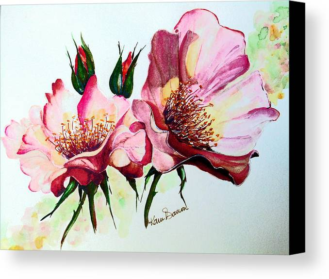 Flower Painting Canvas Print featuring the painting A Rose Is A Rose by Karin Dawn Kelshall- Best