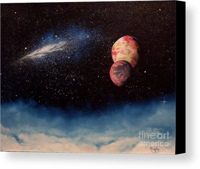 Landscape Canvas Print featuring the painting Above Alien Clouds by Murphy Elliott