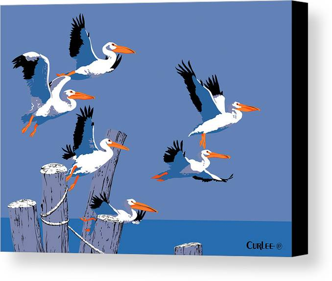 Abstract Canvas Print featuring the painting abstract Pelicans seascape tropical pop art nouveau 1980s florida birds large retro painting by Walt Curlee