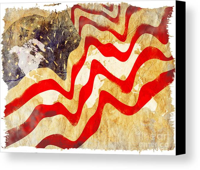 Usa Canvas Print featuring the painting Abstract Usa Flag by Stefano Senise