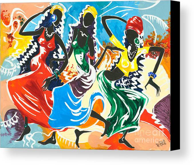 Canvas Prints Canvas Print featuring the painting African Dancers No. 2 by Elisabeta Hermann