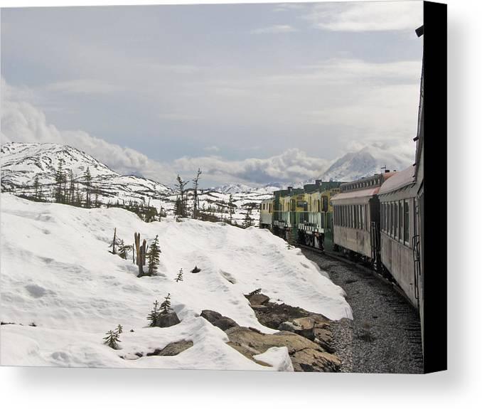 Alaska Canvas Print featuring the photograph Alaskan Trainride by Larry Marano