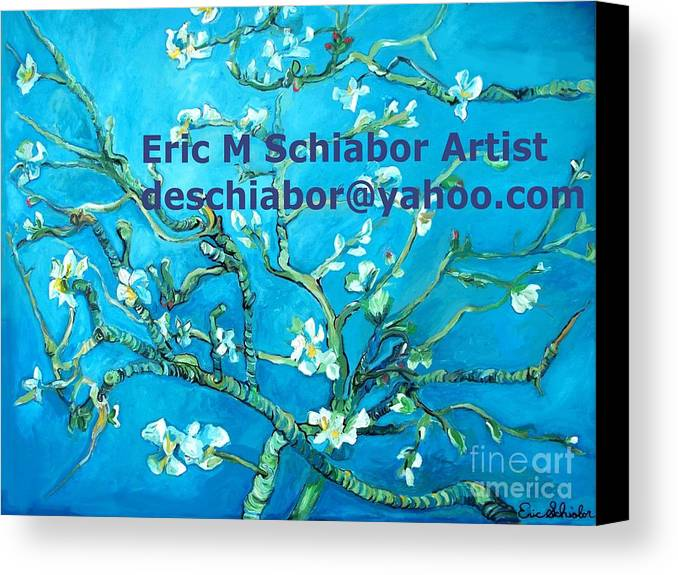 Almond Blossom Van Gogh Canvas Print featuring the painting Almond Blossom Branches by Eric Schiabor