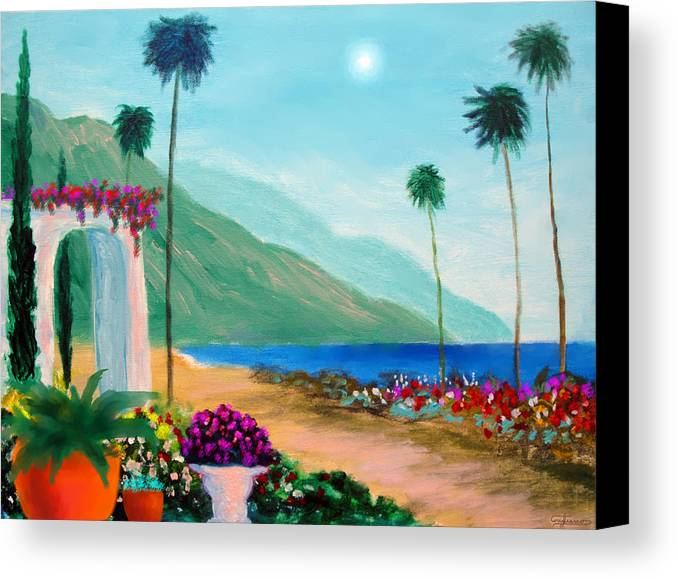 Amalfi Colors Canvas Print featuring the painting Amalfi Colors by Larry Cirigliano