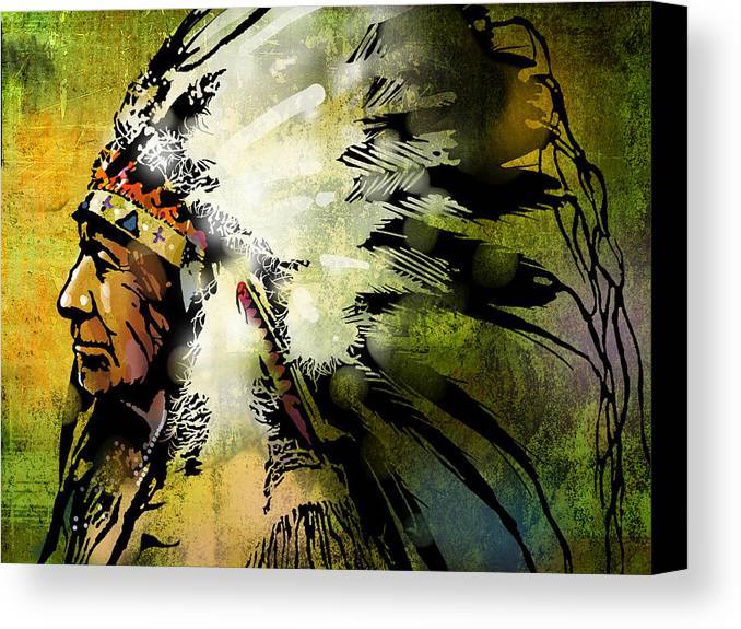 Native American Canvas Print featuring the painting American Horse by Paul Sachtleben