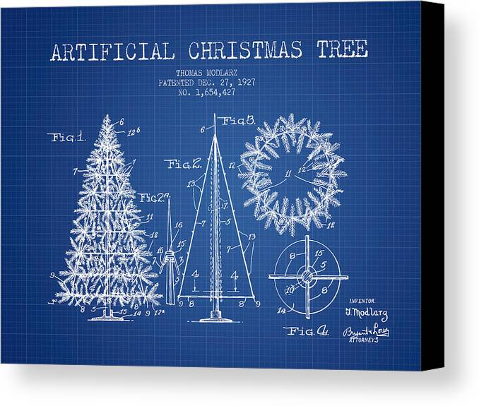 Artifical christmas tree patent from 1927 blueprint canvas print christmas canvas print featuring the digital art artifical christmas tree patent from 1927 blueprint by malvernweather Images