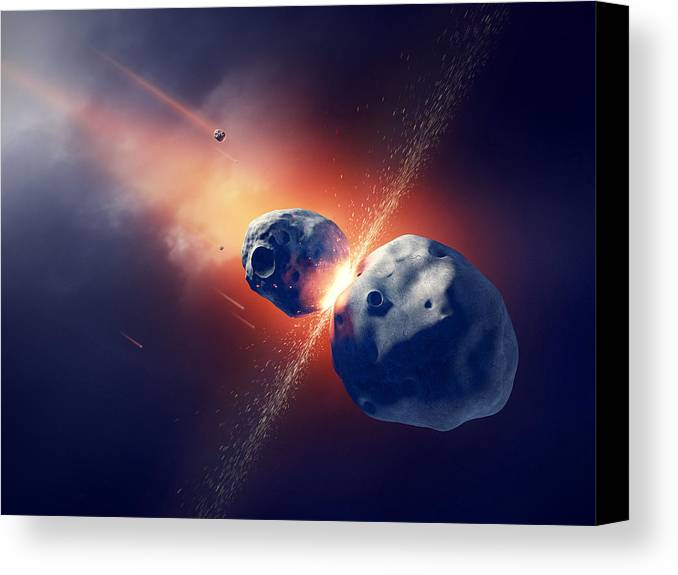 Asteroid Canvas Print featuring the photograph Asteroids Collide And Explode In Space by Johan Swanepoel