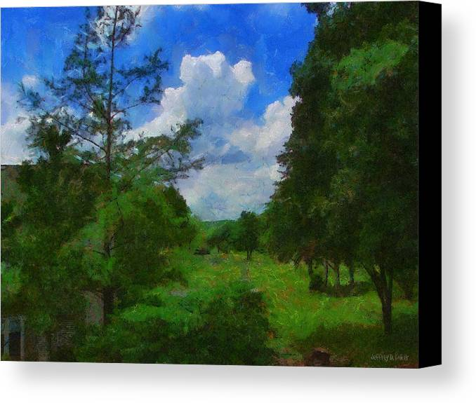 Back Yard Canvas Print featuring the painting Back Yard View by Jeff Kolker