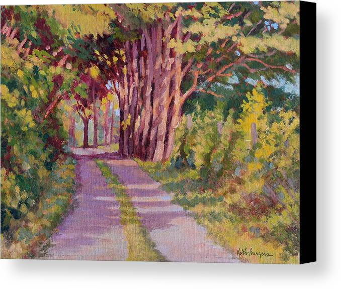 Road Canvas Print featuring the painting Backroad Canopy by Keith Burgess