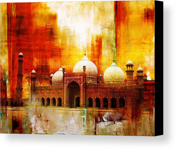 Pakistan Canvas Print featuring the painting Badshahi Mosque Or The Royal Mosque by Catf