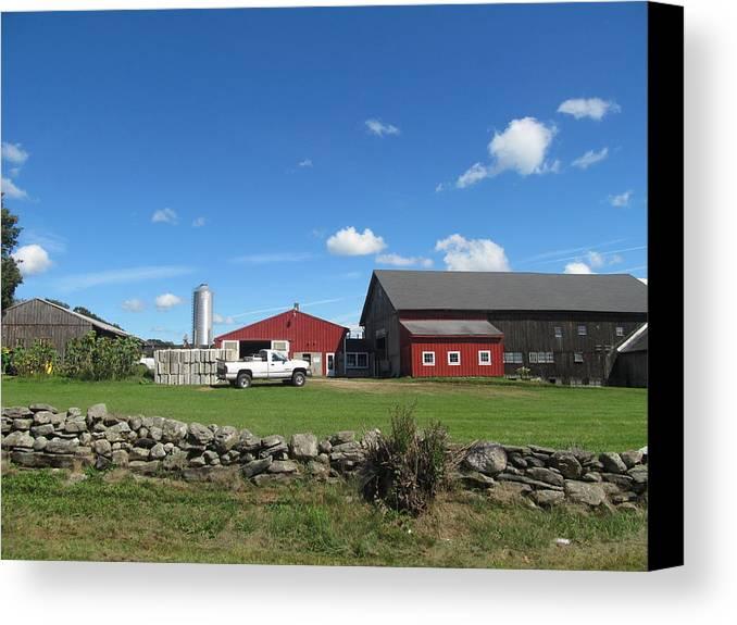 Horizon Canvas Print featuring the photograph Barn Red Sky Blue by Loretta Pokorny