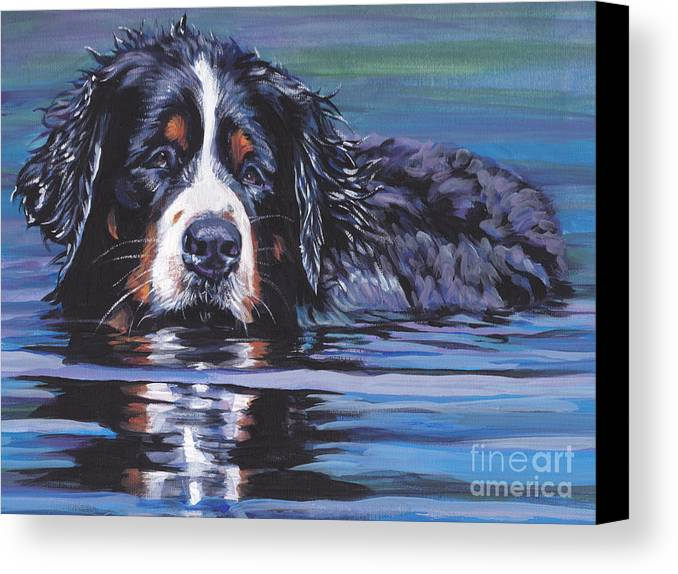 Bernese Mountain Dog Canvas Print featuring the painting Beautiful Berner by Lee Ann Shepard
