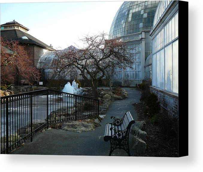 Detroit Canvas Print featuring the photograph Belle Isle Conservatory Courtyard by Two Bridges North