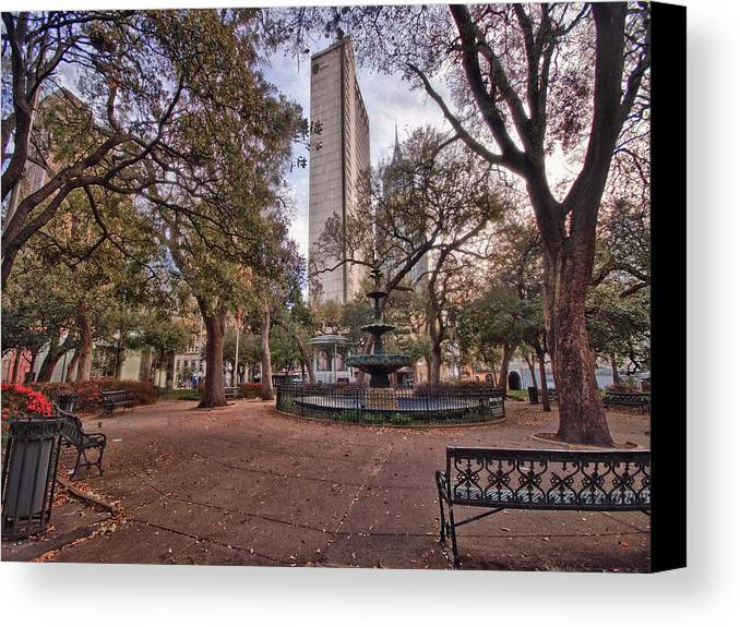 Canvas Print featuring the digital art Bienville Spring With Benches by Michael Thomas