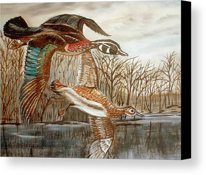 Birds Landing Water Landscape Canvas Print featuring the painting Birds Landing by Kenneth LePoidevin
