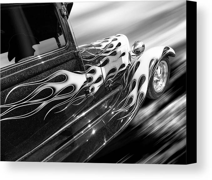 Hotrod Canvas Print featuring the photograph Blazing A Trail - Ford Model A 1929 In Black And White by Gill Billington