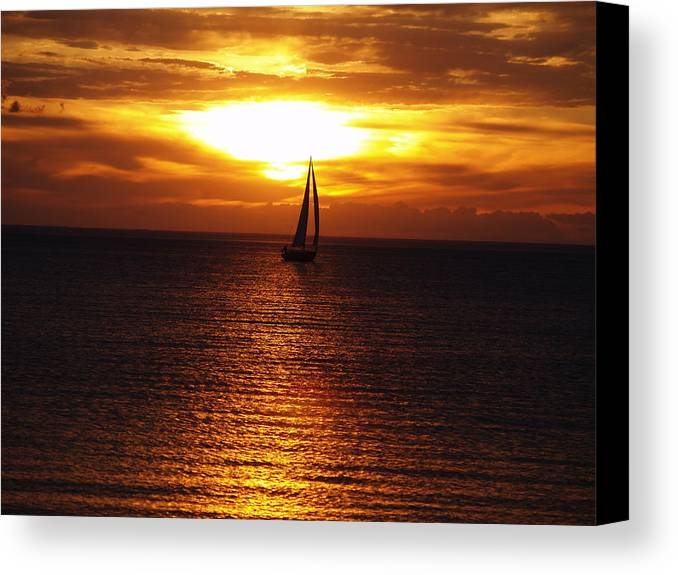 Susan Canvas Print featuring the photograph Boat At Sunset by Susan Crossman Buscho