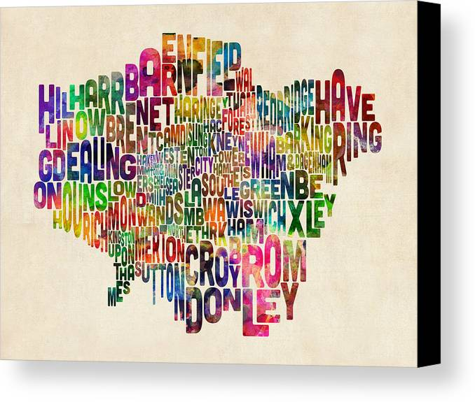 London Canvas Print featuring the digital art Boroughs Of London Typography Text Map by Michael Tompsett