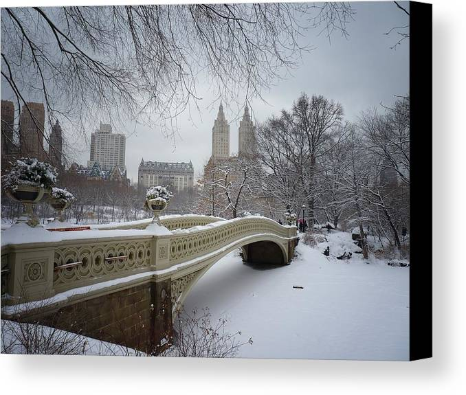 Landscape Canvas Print featuring the photograph Bow Bridge Central Park In Winter by Vivienne Gucwa