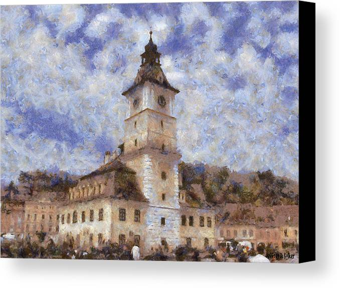 Architecture Canvas Print featuring the painting Brasov City Hall by Jeffrey Kolker