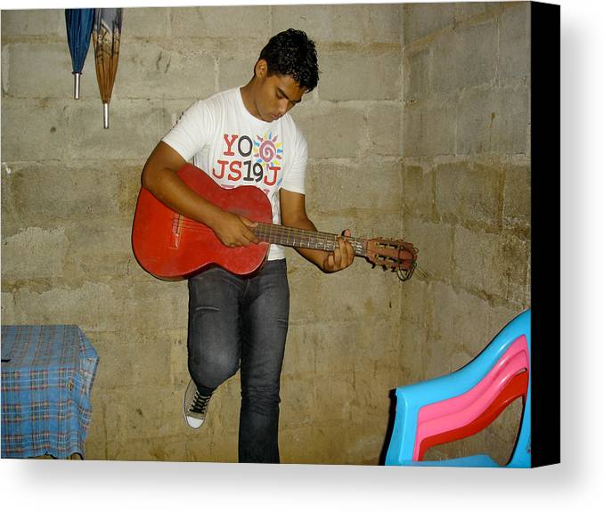 Nicaragua Canvas Print featuring the photograph Brother Playing Guitar by Roberto F