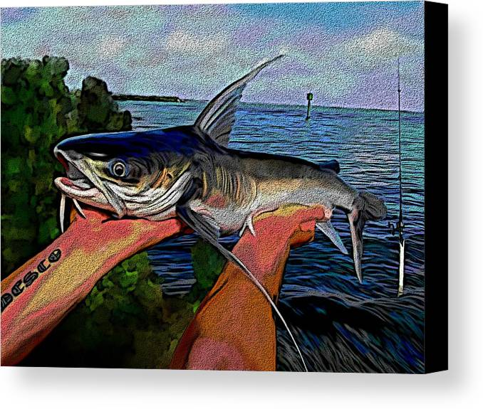 Catfish Canvas Print featuring the digital art Catch Of The Day by Karen Sheltrown