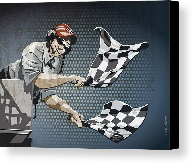 Racing Canvas Print featuring the drawing Checkered Flag Grunge Color by Frank Ramspott