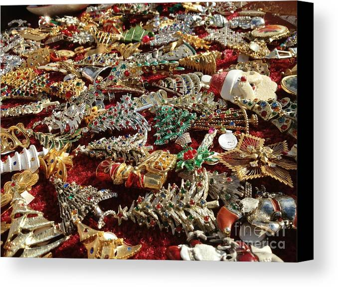 Christmas Canvas Print featuring the photograph Christmas Baubles by Donald Groves